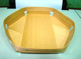 Еко упаковка из дерева (шпона) тарелки для овощей и фруктов 165*165*25мм