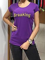 """Однотонная женская футболка """"Breaking"""", фото 1"""