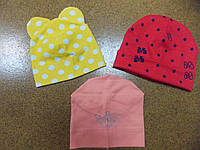Трикотажные шапки для девочки 3-6 лет