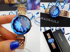 ТОПОВЫЕ!! Женские часы Baosaili (баосали) в ФИРМЕННОЙ коробке, золото с синим, фото 2