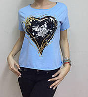Женская футболка декорированная сердцем из пайеток, фото 1