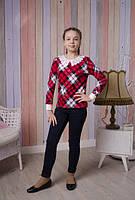 Модная красная кофта в клеточку на девочку подростковые