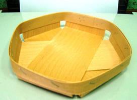 Еко упаковка из дерева (шпона) тарелки для овощей и фруктов 120*120*25мм
