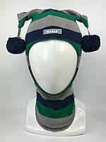Весенняя шапка-шлем для мальчика Арлекин 1707-33