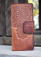 Кошелёк Цветок коричневый 9.5*19см