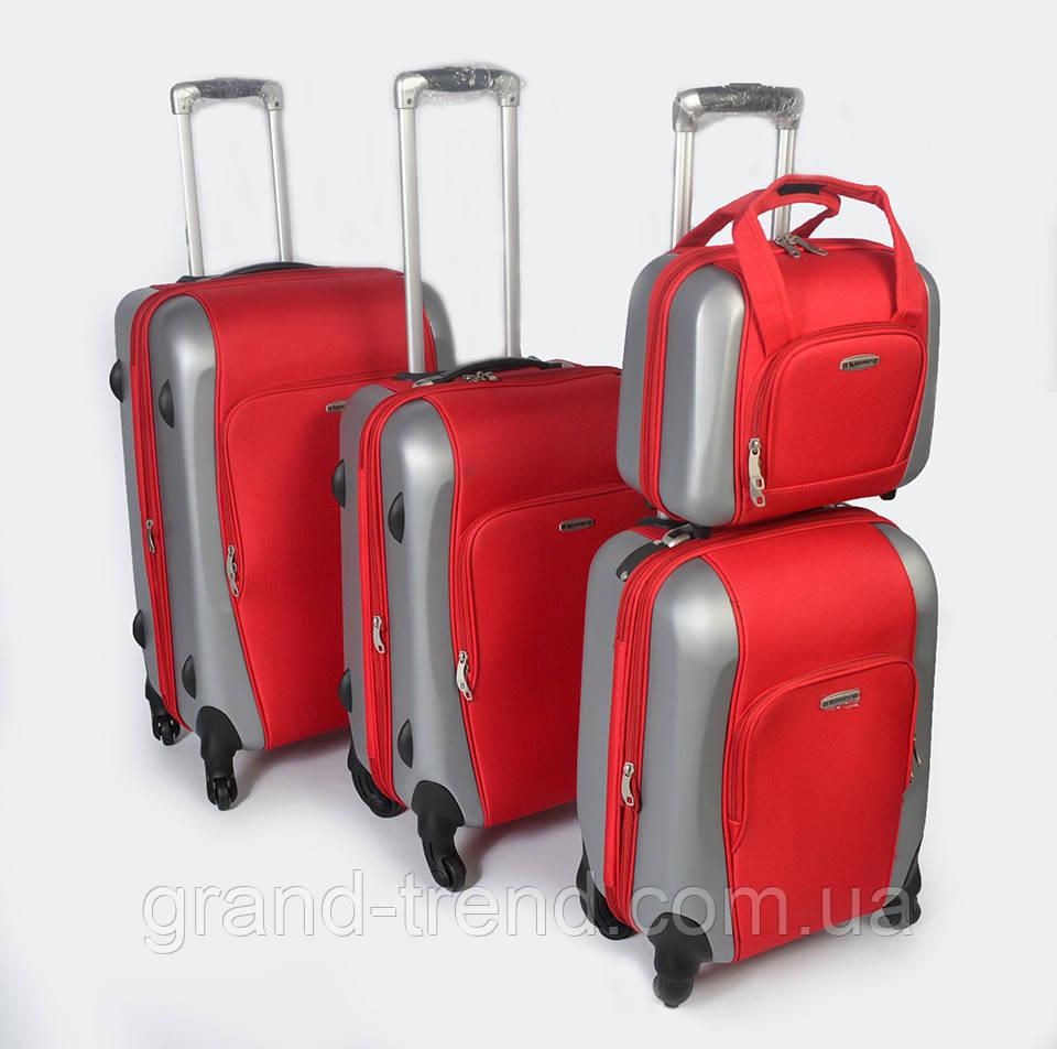 Комплект чемоданов KAIMAN из пластика на 4 колесах красного цвета 3шт и  косметичка - интернет магазин 43ae371a606