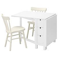 IKEA NORDEN/NORRARYD Стол и 2 стула, белый, белый  (491.615.05)