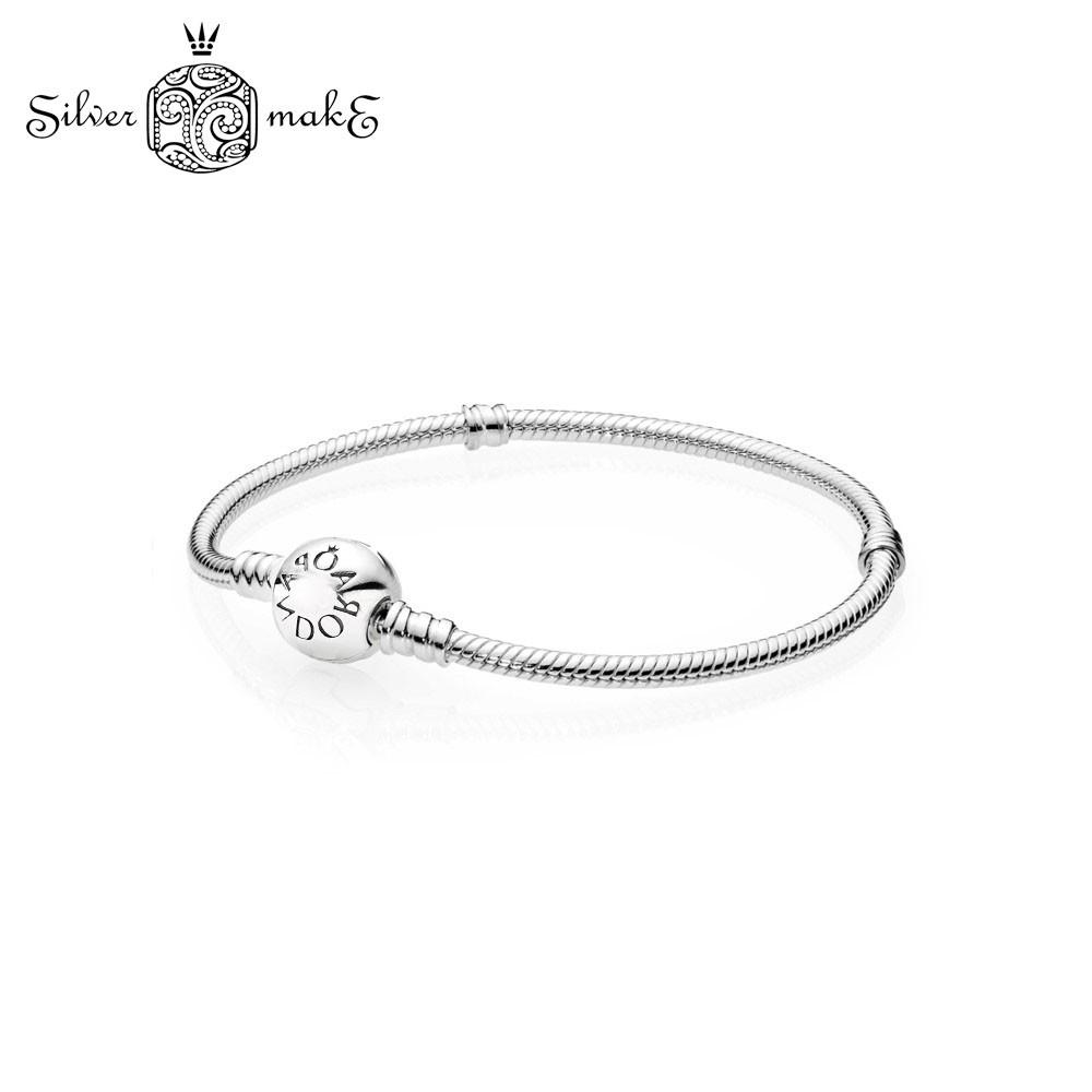 Срібний Браслет стиль Pandora з срібла з круглої застібкою p-lock