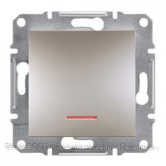 1-клавишный выключатель с подсветкой Schneider Asfora Бронза (EPH1400169)