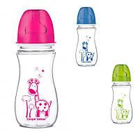 """Детская бутылочка с широким отверстием антиколиковая Eadystart, """"Цветные зверята"""" 300 мл, 35/204 """"Canpol"""""""