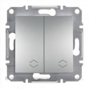 Проходной 2-клавишный переключатель Schneider Asfora Алюминий (EPH0600161)