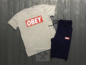 Мужской комплект футболка + шорты Obey серого и синего цвета (люкс копия)