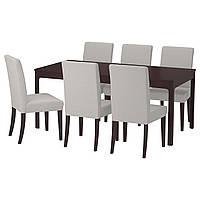 IKEA EKEDALEN/HENRIKSDAL Стол и 6 стульев темно-коричневый, Orrsta светло-серый  (492.292.61)