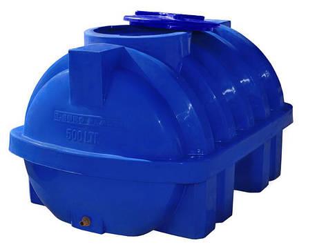 Бесплатная доставка. Емкость, бак, бочка 500 литров усиленная ребром пищевая двухслойная горизонтальная RGД Р, фото 2