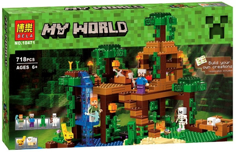 Конструктор lego minecraft домик на дереве в джунглях