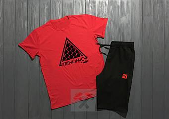 Мужской комплект футболка + шорты Puma красного и черного цвета