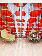 Фотоштора Красные зонты (26501_1_1)