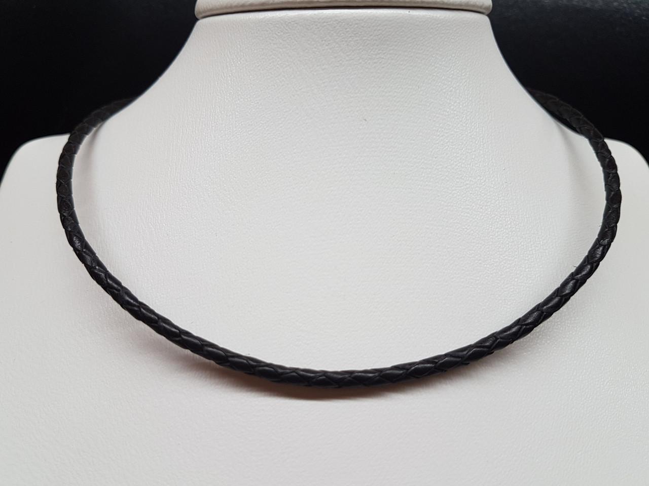 Шкіряний ювелірний шнурок зі вставками з срібла. Артикул 950037с 50