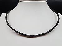 Кожаный ювелирный шнурок со вставками из серебра. Артикул 950037с