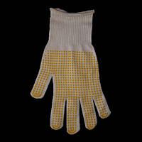 Перчатки хозяйственные рабочие с ПВХ желтой точкой, Манжет