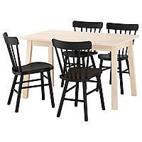 IKEA NORRAKER/NORRARYD Стол и 4 стула, белая береза, черный  (692.597.37)