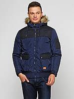Куртка мужская (теплая) капюшон с мэхом бренда Jack Jones в синем и черном цвете, фото 1