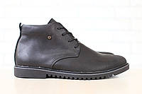 Ботинки мужские, демисезонные, из натуральной кожи, черные, на шнурках, на байке