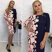 Модное платье с цветочным принтом ткань - трикотаж (стрейч) размеры с 52 до 58