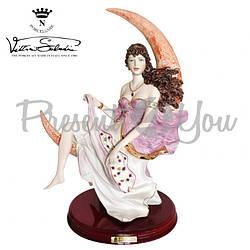 Фигурка-статуэтка фарфоровая Италия, ручная работа «Леди на луне» Sabadin, h-47 см (295Ls)