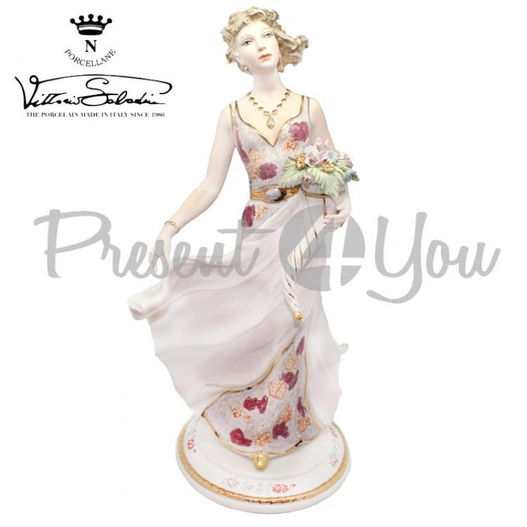 Фигурка-статуэтка фарфоровая Италия, ручная работа «Девушка с цветами» Sabadin, h-43 см (2965Ls)