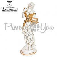Фигурка-статуэтка фарфоровая Италия, ручная работа «Дама с фруктами» Sabadin, h-50см (43412s)