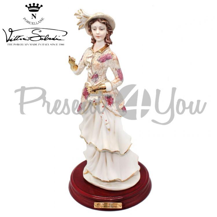 Фигурка-статуэтка фарфоровая Италия, ручная работа «Леди-Зима» Sabadin, h-33 см (2383Ls)