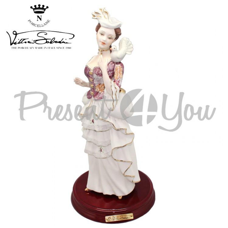 Фигурка-статуэтка фарфоровая Италия, ручная работа «Леди с голубем» Sabadin, h-36 см (2962Ls)