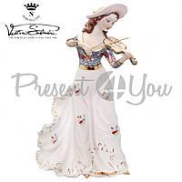 Фигурка-статуэтка фарфоровая Италия, ручная работа «Леди в шляпе со скрипкой» Sabadin, h-34 см (2347Ls)