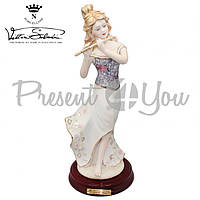 Фигурка-статуэтка фарфоровая Италия «Леди с флейтой» Sabadin, h-39 см (2387Ls)