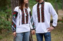 Пара вишиванок білого кольору з бощівським орнаментом ручної роботи