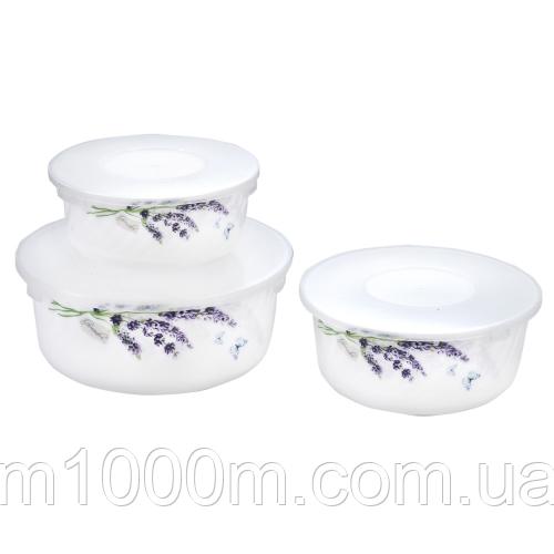 Набір салатників з кришкою 3шт (7,5 ', 6,5', 5,5 ') Лаванда 30053-1065