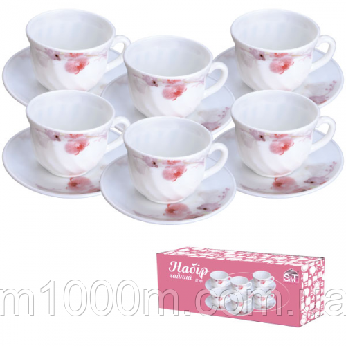 Набор чайный стеклокерамика 12 предметов Розовая орхидея 61099