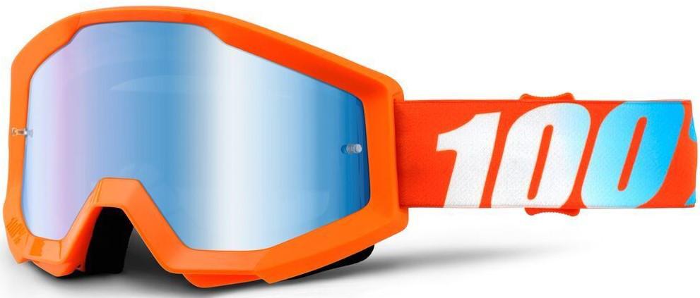 Детские мото очки 100% STRATA JR Orange - Mirror Blue Lens