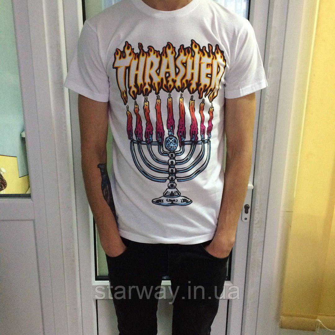 Футболка белая Thrasher Flame | Оригинальная бирка