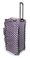 Дорожная сумка на колесах Travel World в горошек фиолетовая