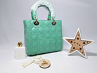 Женская лаковая сумка Бирюзовая через плече люкс копия , фото 1