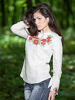 Вышитая женская рубашка бежевая (S-3XL)