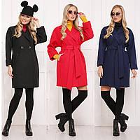 Женское пальто прямого кроя с воротником и поясом