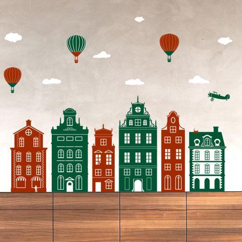 Интерьерные виниловые наклейки в детскую Городок (наклейки домики детские)