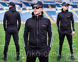Мужской спортивный костюм, черный премиум класса
