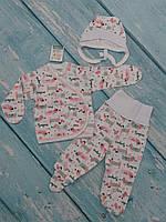 Комплект одежды для новорожденного (3 предм., интерлок), р. 62