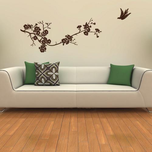 Интерьерная наклейка на обои Весенняя сакура (виниловая пленка оракал, цветущее дерево птица, декор стен)