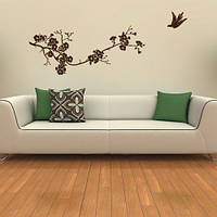Интерьерная наклейка на обои Весенняя сакура (виниловая пленка оракал, цветущее дерево птица, декор стен), фото 1