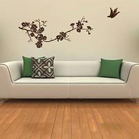 Интерьерная наклейка на обои Весенняя сакура (виниловая пленка оракал)